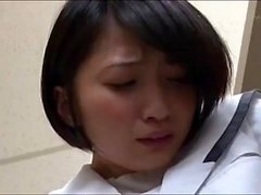 Riku Minato sexy Asian teen in school uniform does POV