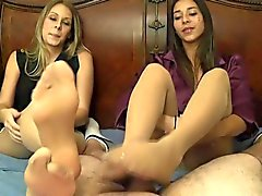 Pantyhose Double Footjob