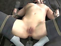 Frogtied submissive has her pussy toyed