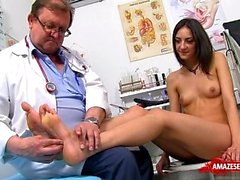 Brunette doctor gaping and cumshot