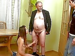 Young gal enjoys old hard rod entering her twat