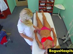Euro amateur fingered and licked by nurse