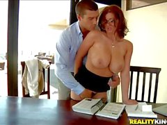 Heavy chested bookworm Sarah gives titjob to Ramon in pov
