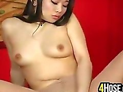 Asian Beauty In Pantyhose Masturbating