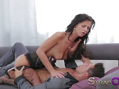 Strapon Ripped euro guy gets ass fucked by his sexy GF