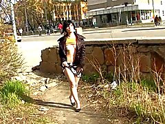 Naughty in public Cute Brunette public pussy flashing