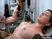 College girls handled hard in the gym