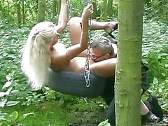 filles, blondes, doggy style, forêt