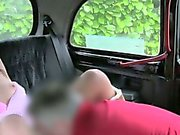Sexy British brunette gets facial in fake taxi