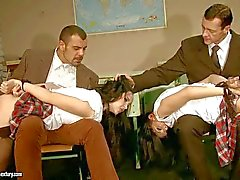 Schoolgirl Angell Summers gets tortured in hot BDSM foursome