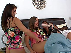 Three playful young babes have fuck orgy during a party