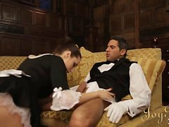 Sexy brunette maid with a big ass enjoys a remarkable