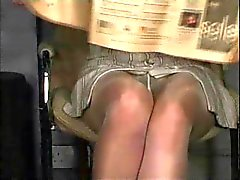 Pantyhose upskirt, no panties