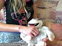 Cute teen girl spreads her legs part1