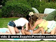 Stunning blonde and redhead and brunette lesbos getting naked and kissing in a three way lesbo orgy