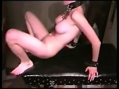 Submissive blonde slut with big breasts feeds her lust for