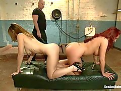 Kelly Divine and pal are nipple clamped together