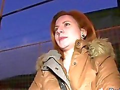 Czech redhead banged in car in public