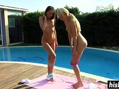 Awesome babes have fun by the pool