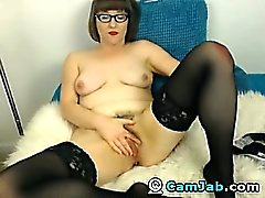 HOT Lingerie Babe in Glasses Masturbating