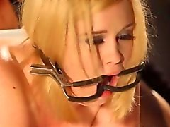 Blonde sub lesbo toyed by a mean mistress