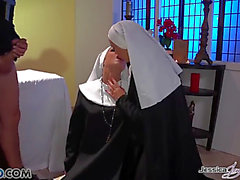 Priest two-some with nuns
