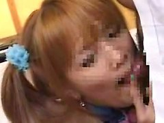 Pigtailed Japanese slut puts her wonderful oral abilities o