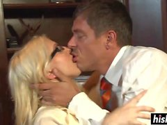 Blonde secretary fucks with her boss