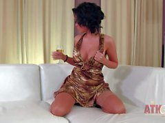 Young babe Linet with sexy tits drinking wine