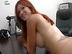 Busty redhead soccer mom goes for an audition and gets fucked