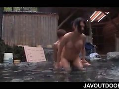 Asian babe with giant tits hammered in her wet slit outdoor
