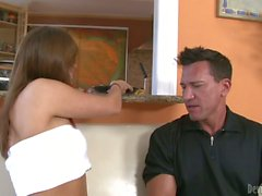 Babysitter Bella Luciano with pierced nipples