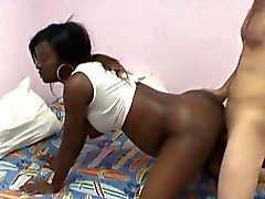 Pregnant ebony stunner rides on a dick