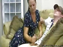 Horny Mother Gives Handjob