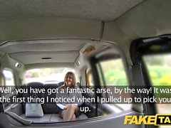 Fake Taxi office girl in stockings rimming anal sex and swallowing