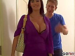 Busty brunette Audrey Bitoni with sexy black lingerie fucked in hotel room