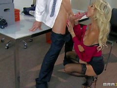 Big titted horny wife Sarah Jessie gets boned