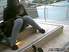 Chubby Arab Girls Cute Feet Outdoors