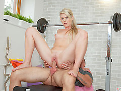 Golden-Haired Czech sweetheart Claudia Macc's hawt photo discharge fuck at the gym threatening-threatening PornDoe