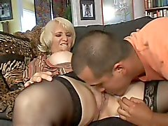 Mature blonde Sophie Mounds with wet pierced pussy