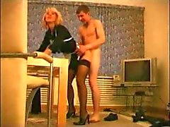 Russian mature in black stockings and heels