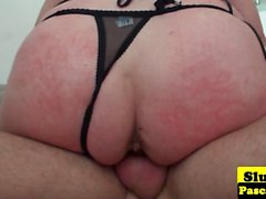 Big British blonde gets pussy rubbed in her fishnet stockings