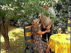 Horny granny fucked outdoor