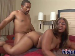 Chubby ebony honey has her slit pounded