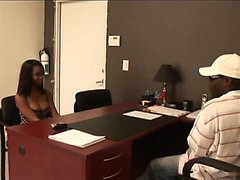 Black stud gets to fuck a hot ebony girl in his office