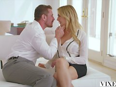 This flexible stunning blonde babe is screwing her boyfriend in various poses