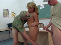 Shaved girl Casey Cumz gets gangbanged by soldiers