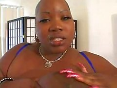 Fat Ebony With Giant Tits Serving White POV