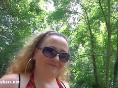Fat mature flasher Sammis public nudity and outdoor masturbation