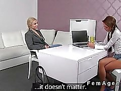 Blonde masturbates for female agent